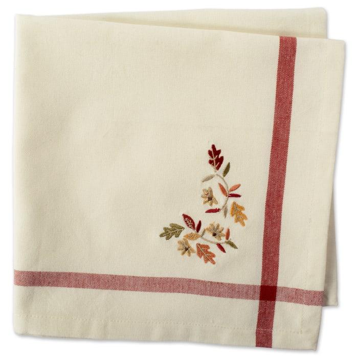 Embroidered Autumn Leaves Napkin Set