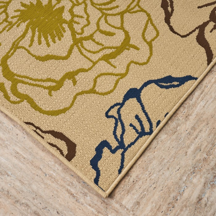 Floral Ivory & Green Rug 5 x 8