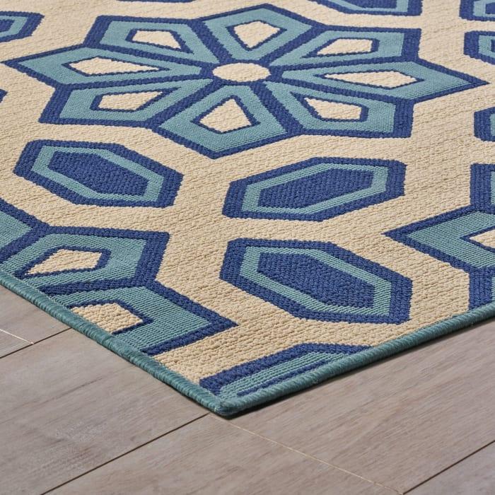 Geometric Ivory & Blue Rug 8' x 11'