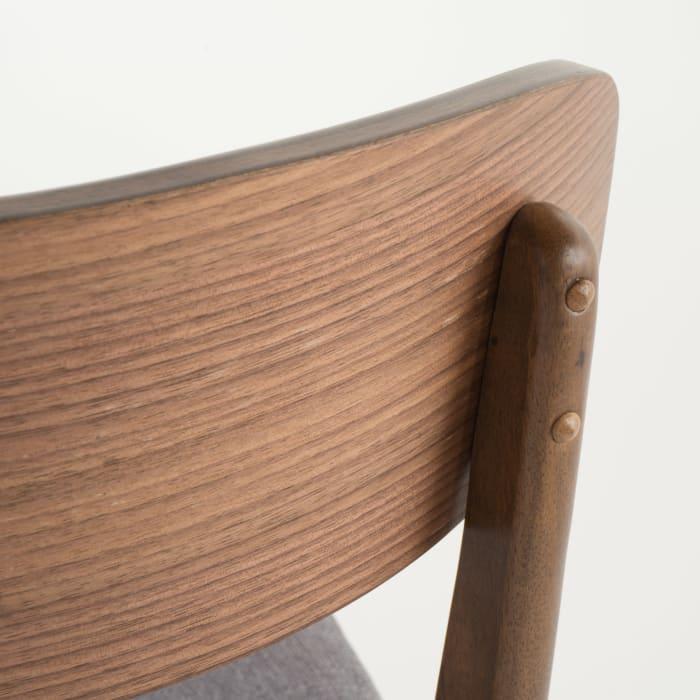 Walnut & Dark Gray Curved Leg Mid-Century 5-Piece Dining Set