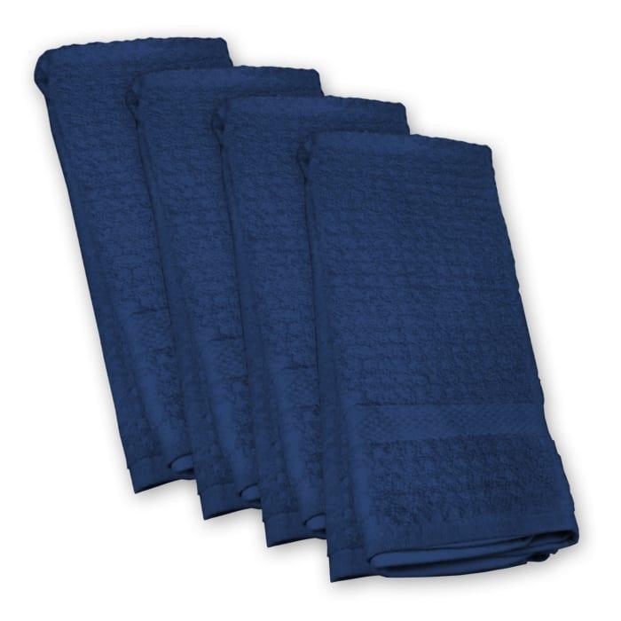 Nautical Blue Waffle Dish Towel Set of 4
