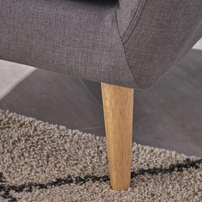 Mid Century Modern Petite Dark Gray Fabric Sofa