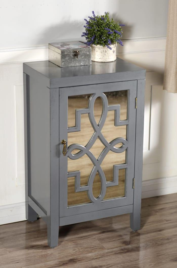 Gray Mirrored Panel Nightstand