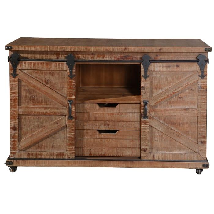 Natural Brown 2 Door 2 Drawer & Open Center Cabinet