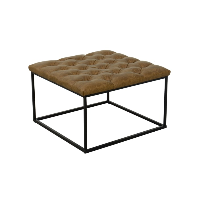 Light Brown Ottoman with Button Tufting