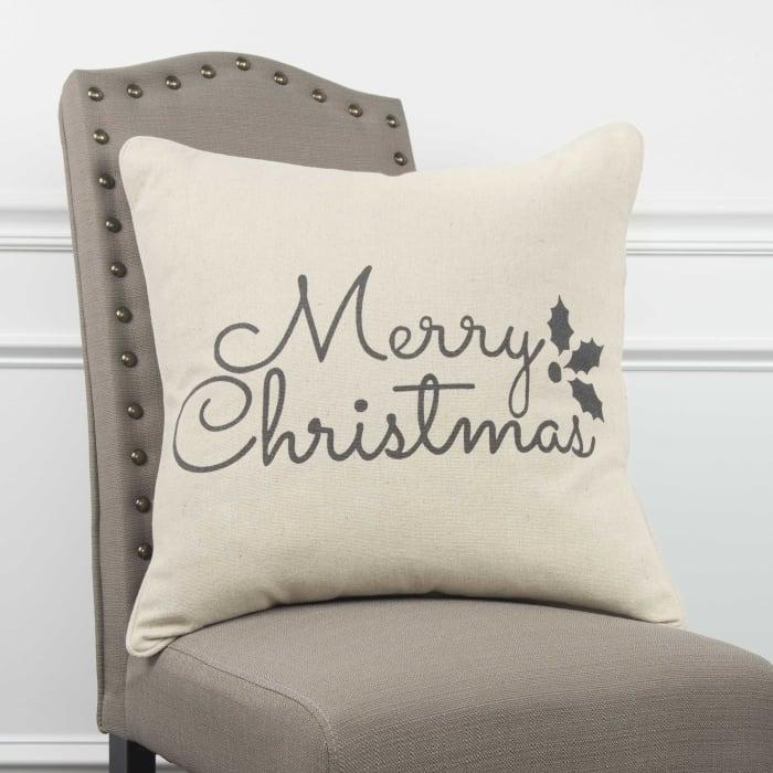 Natural Merry Christmas Pillow