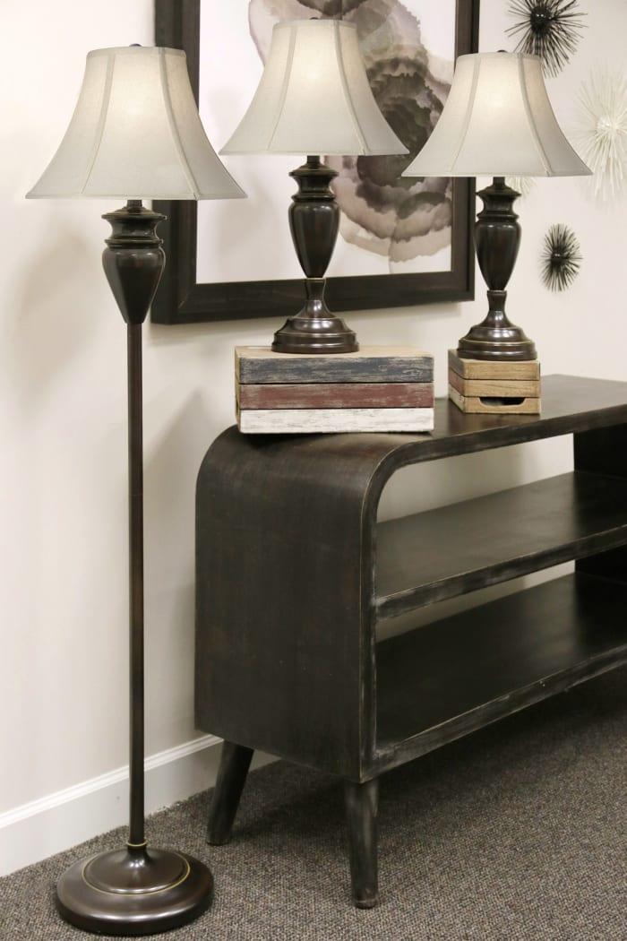 Dark Bronze Floor & Table Lamp Set