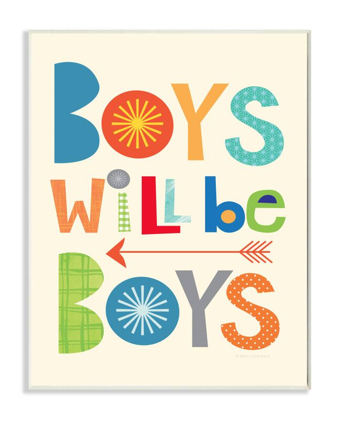 Multi-Color Boys Wall Plaque Art