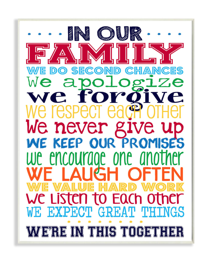 Family Rules Wood Plaque Wall Art