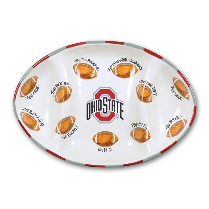 Ohio State Ceramic Football Tailgating Platter