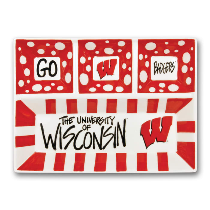 Wisconsin Ceramic 4 Section Tailgating Serving Platter