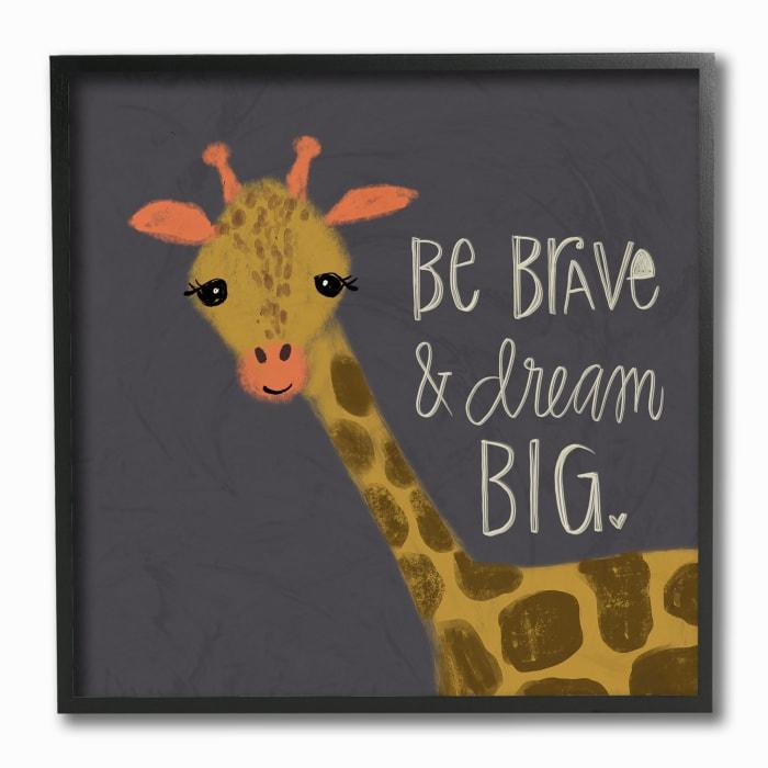 Giraffe Dreamer Framed Giclee Wall Art