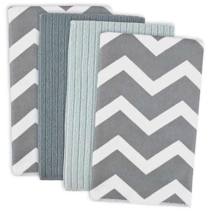 Gray Chevron Mixed Dish Towel Set of 4