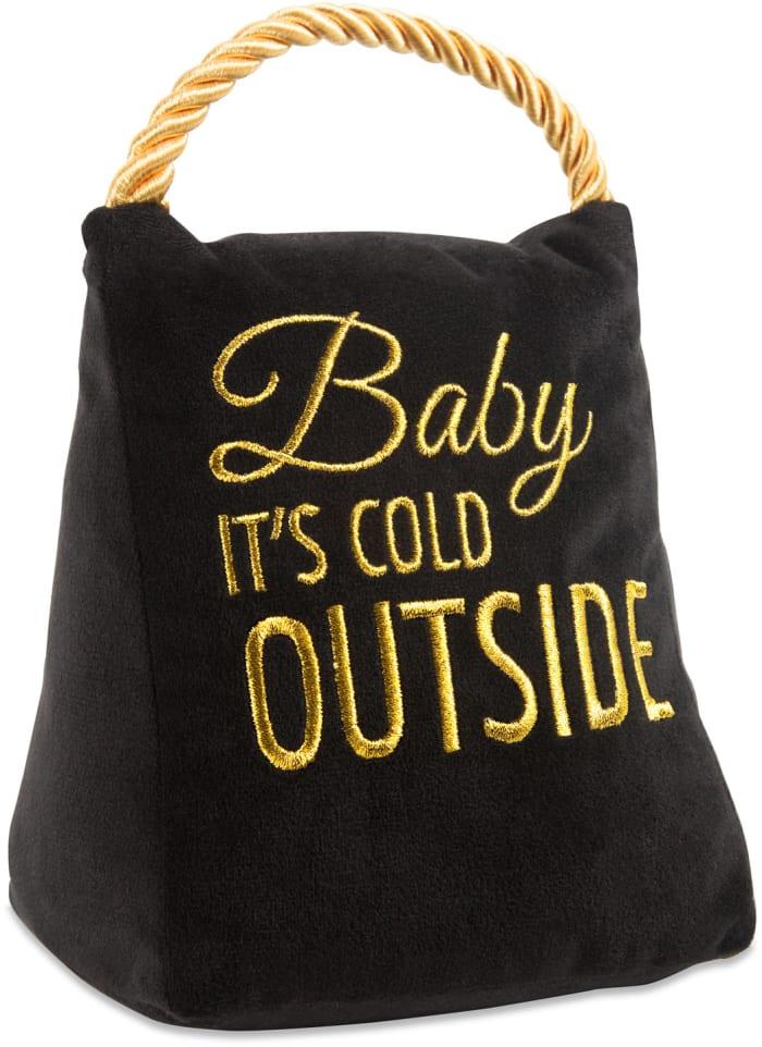 Baby it's Cold Outside Black Velvet Door Stopper