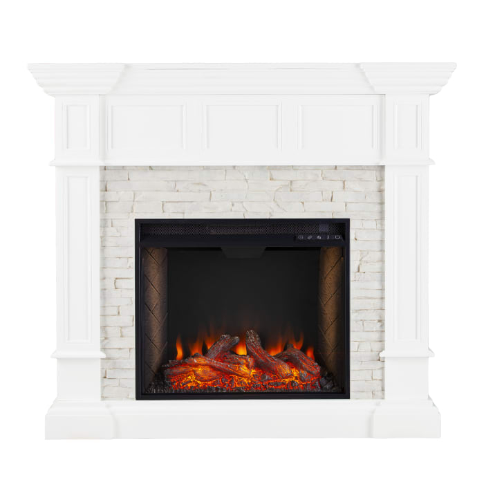 Finley Smart Convertible Fireplace with Faux Stone White