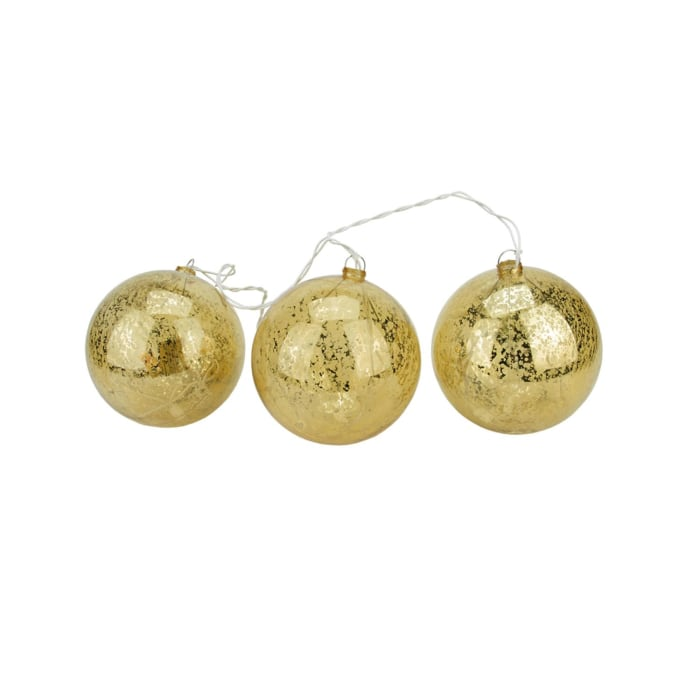 #X17 Lighted Gold Mercury Glass Finish Ball Christmas Ornaments - Clear Lights S/3