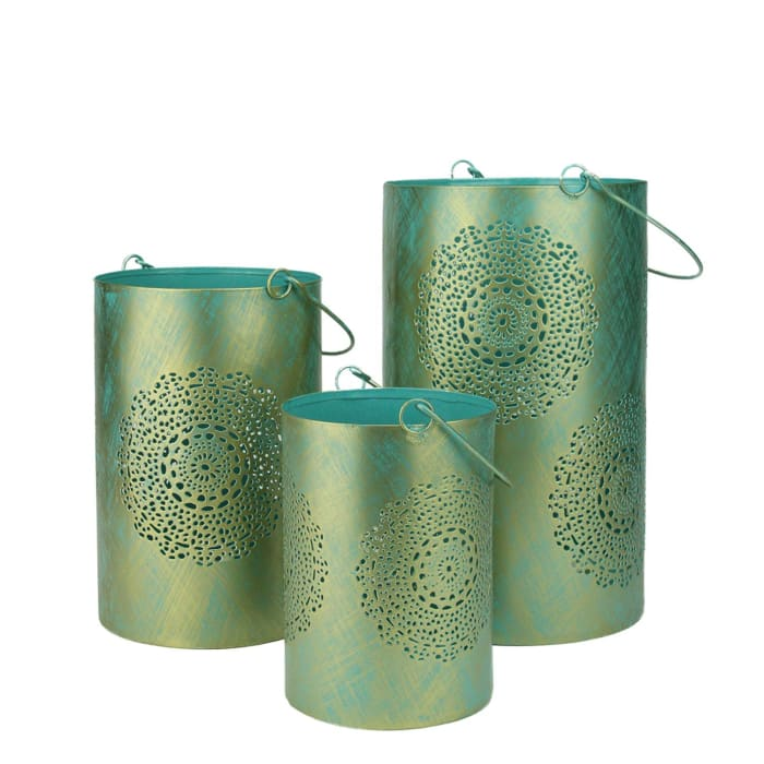 Set of 3 Turquoise Blue and Gold Decorative Floral Cut-Out Pillar Candle Lanterns 10