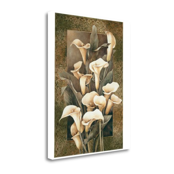 Giclee Print on Gallery Wrap Canvas 19 In. x 24 In. Golden Calla Lilies By Linda Thompson Multi Color