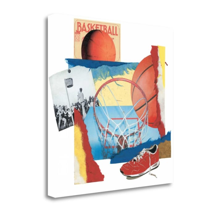 Fine Art Giclee Print on Gallery Wrap Canvas 20 In. x 20 In. Hoop Shot By Melissa Markell Multi Color
