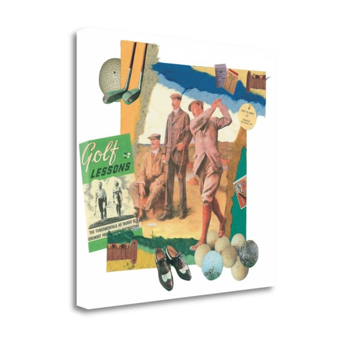 Fine Art Giclee Print on Gallery Wrap Canvas 20 In. x 20 In. Tee Off By Melissa Markell Multi Color