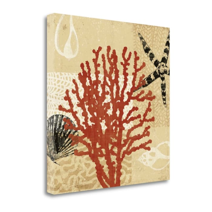 Giclee Print on Gallery Wrap Canvas 22 In. x 22 In. Coral Impressions III By Tandi Venter Multi Color