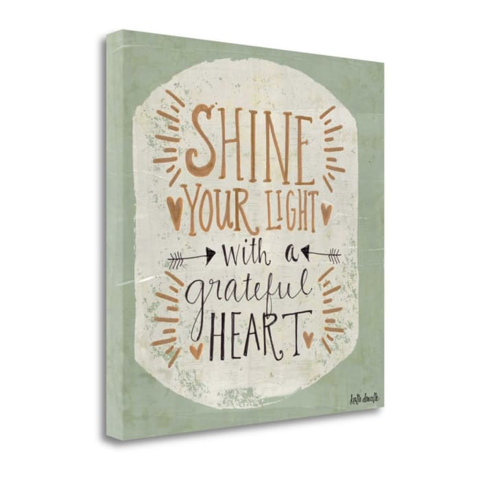 Fine Art Giclee Print on Gallery Wrap Canvas 20 In. x 20 In. Grateful Heart By Katie Doucette Multi Color