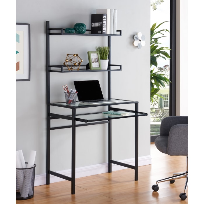 Black Asay Metal and Glass Small-Space Desk with Hutch
