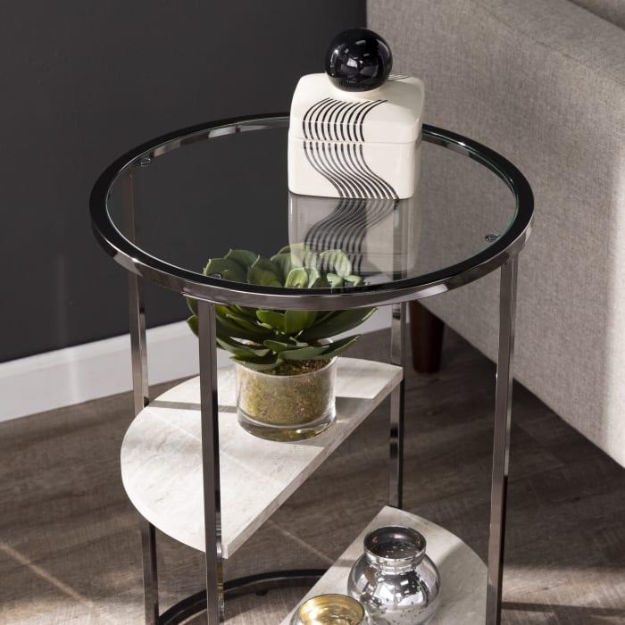 Adrienne Round Side Table w/ Faux Stone