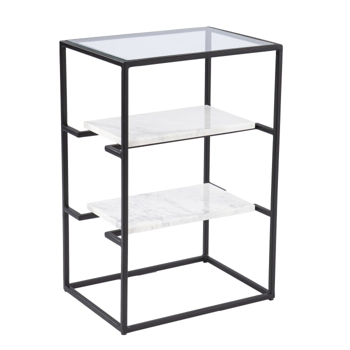 Romford Glass-Top End Table w/ Storage
