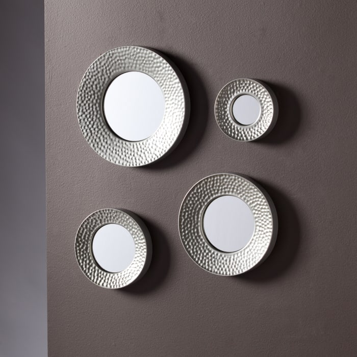 Alcock Sphere Wall Mirror 4pc Set- Hammered Silver