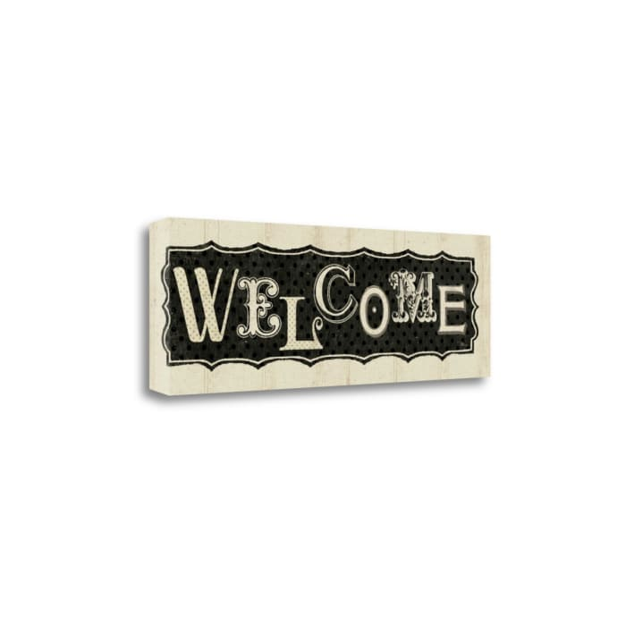 Giclee Print on Gallery Wrap Canvas 36 In. x 12 In. Room Signs IV - Welcome By Pela Studio Multi Color