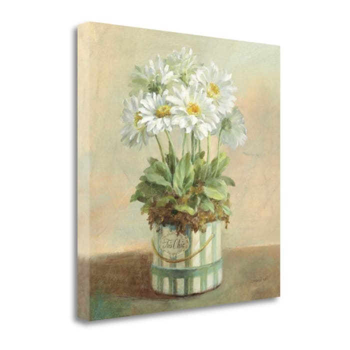 Fine Art Giclee Print on Gallery Wrap Canvas 20 In. x 20 In. Tres Chic Daisies By Danhui Nai Multi Color