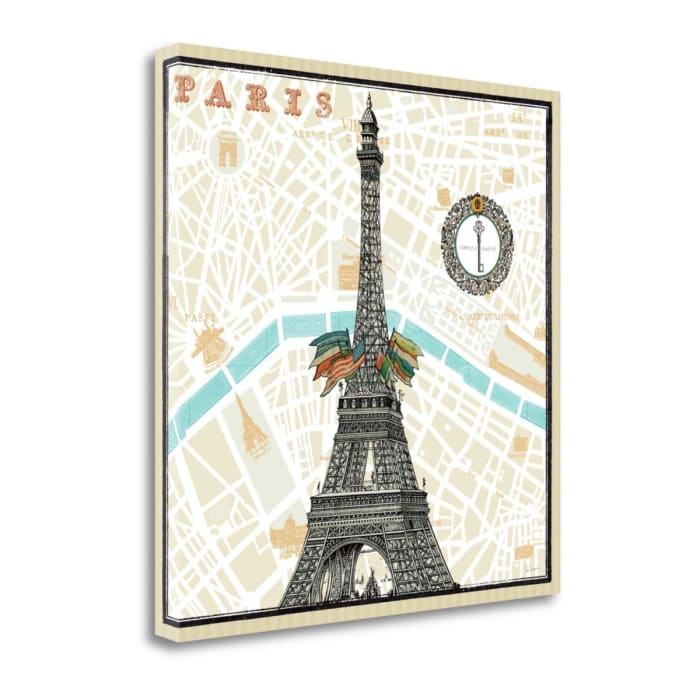 Giclee on Gallery Wrap Canvas 20 In. x 20 In. Monuments Des Paris Eiffel By Sue Schlabach Multi Color