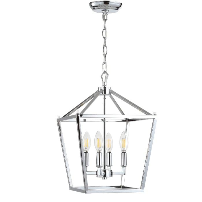 Lottie 4-Bulb Chrome Lantern Metal LED Pendant