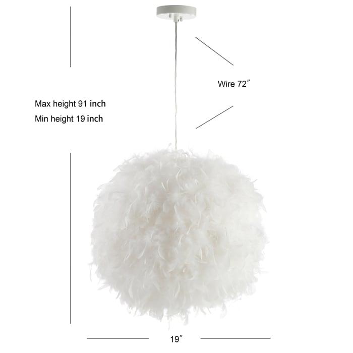 Feather Metal Adjustable LED Pendant, White