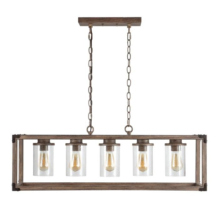 5-Light Linear Adjustable Iron/Seeded Glass Rustic Farmhouse LED Pendant