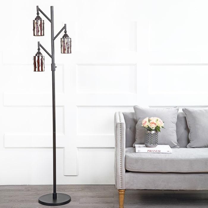 Tiffany-Style Multi-Light Floor Lamp, Bronze