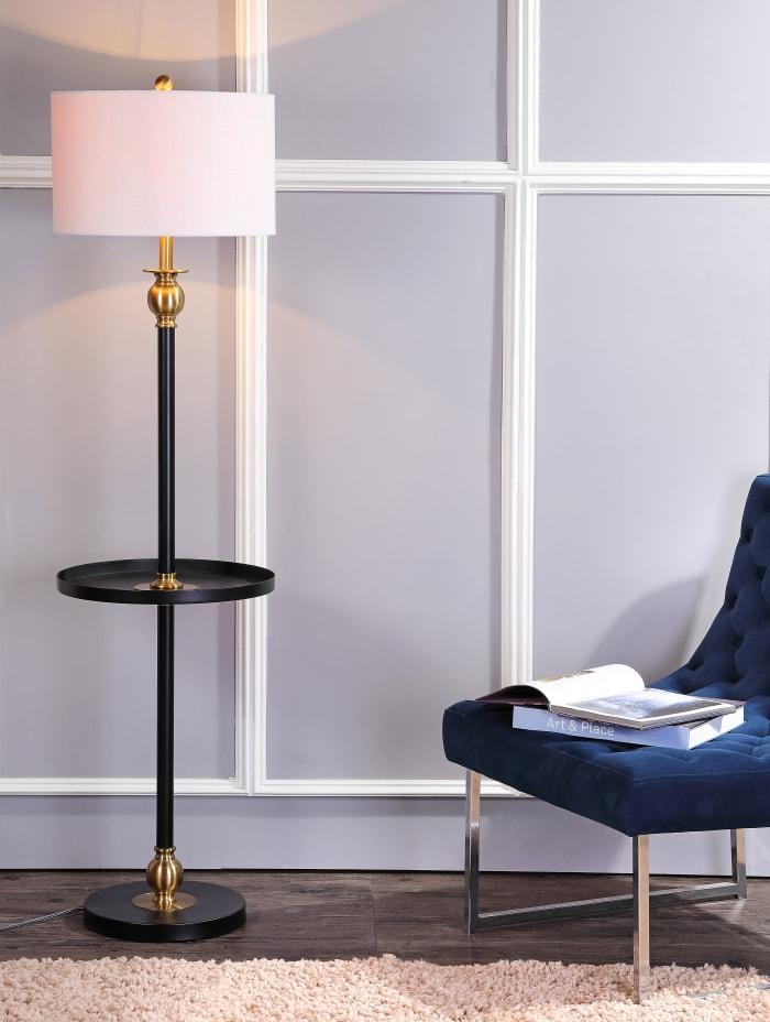 Metal End Table Floor Lamp, Black/Brass