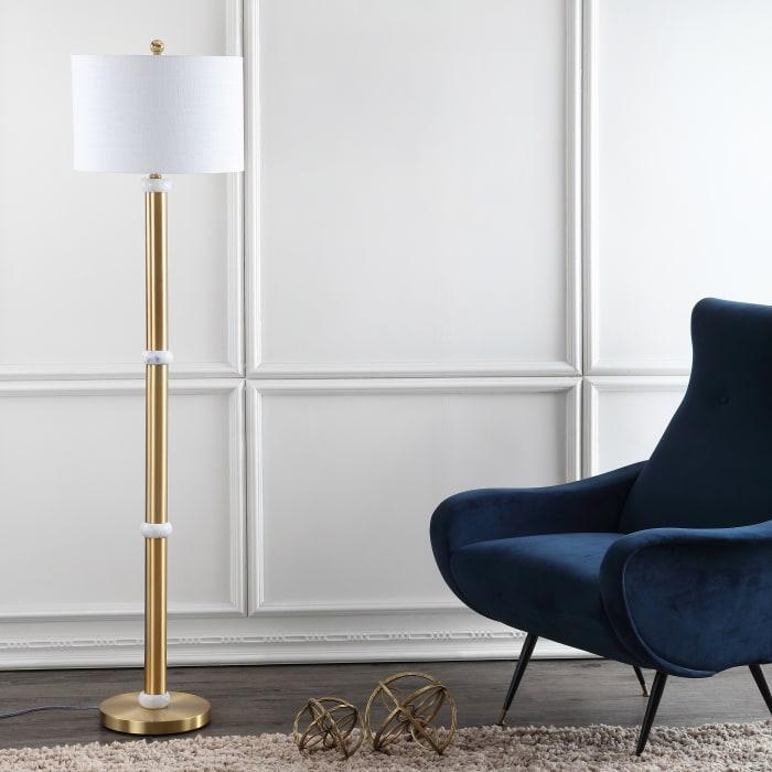 Metal/Marble Floor Lamp, Brass Gold/White