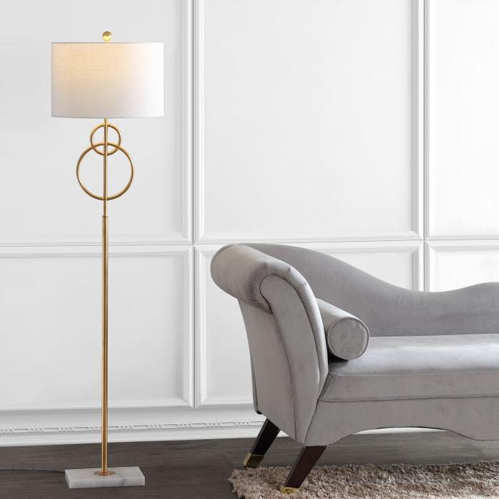 Modern Circle Marble/Metal Floor Lamp, Gold