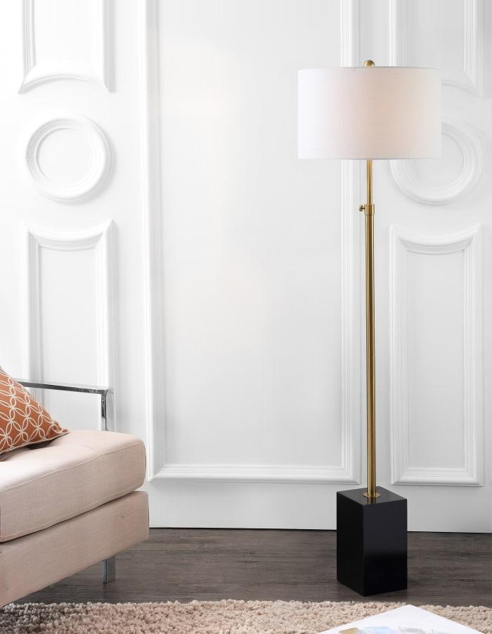 Adjustable Height Floor Lamp, Brass/Black