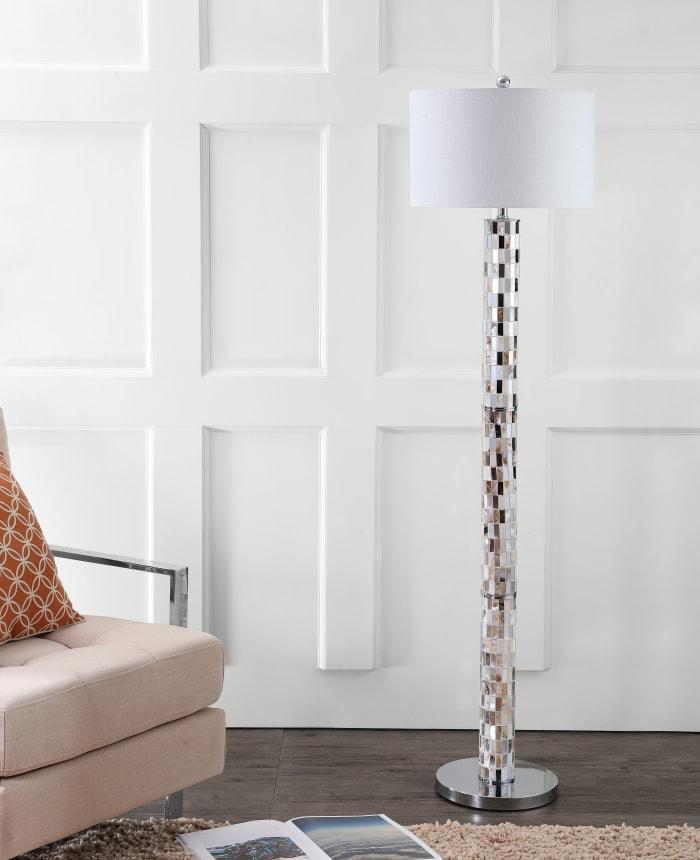 Seashell Mosaic Floor Lamp, Cream