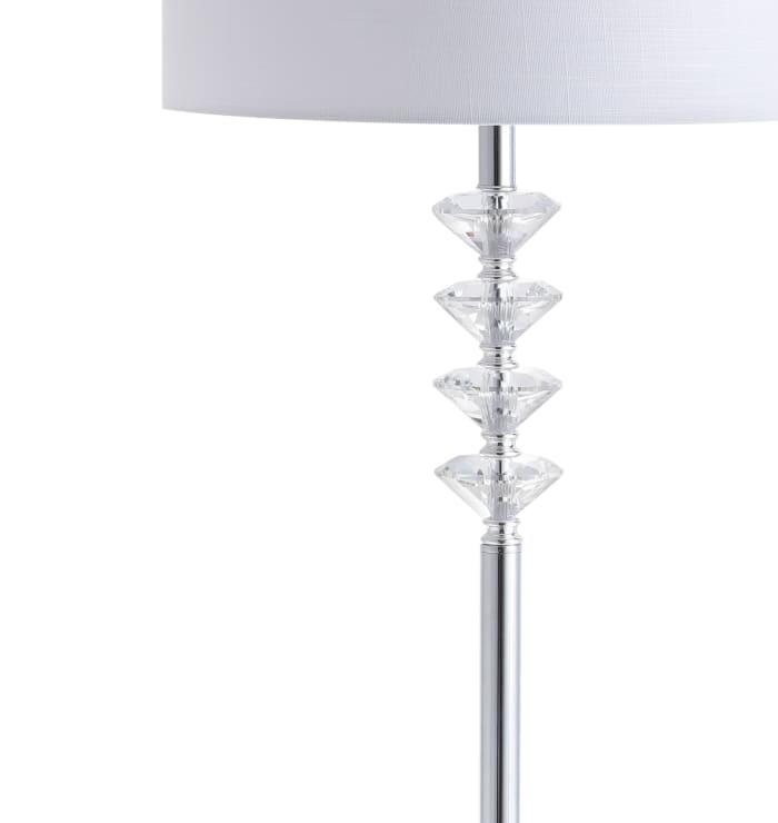 Crystal/Metal Floor Lamp, Clear/Chrome