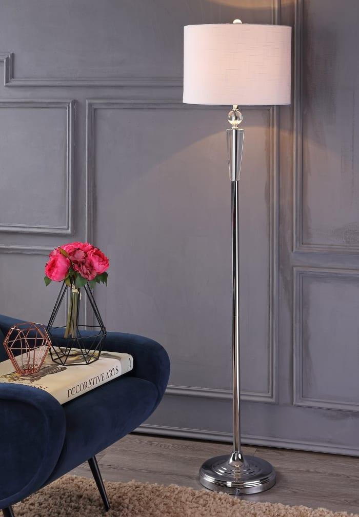 Crystal Floor Lamp, Clear/Chrome