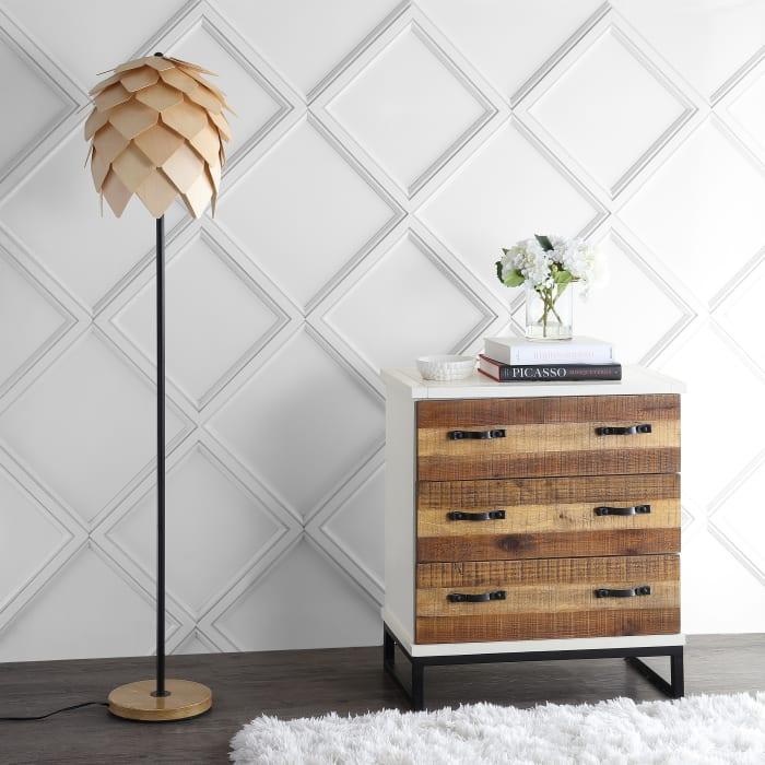 Pinecone Wood & Metal Floor Lamp