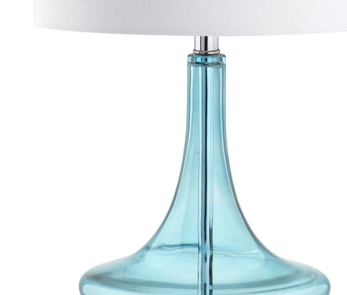 Glass Teardrop Table Lamp, Aqua/Chrome (Set of 2)