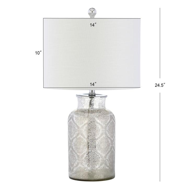Trellis Pattern Glass Table Lamp, Mercury Silver