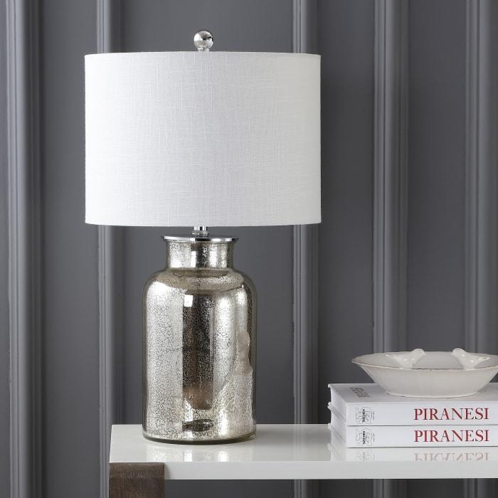 Mercury Glass Table Lamp, Mercury Silver