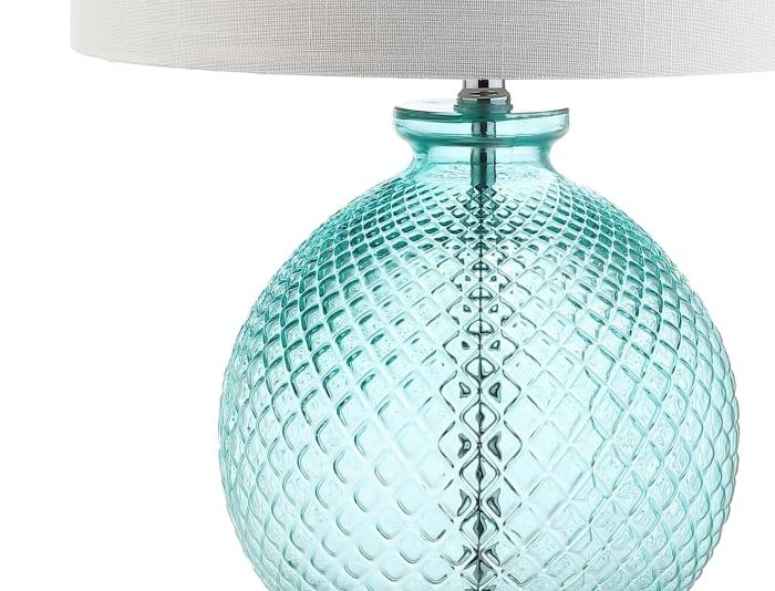 Glass and Crystal Table Lamp, Aqua