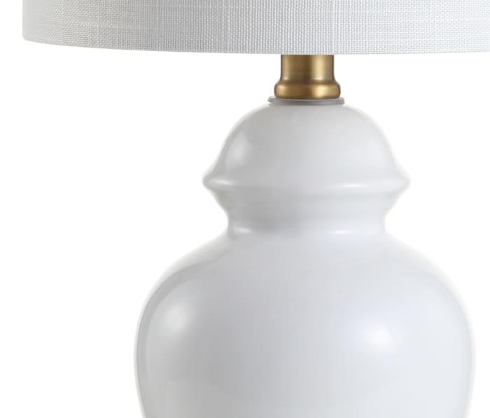 Ceramic/Metal Table Lamp, White/Brass Gold